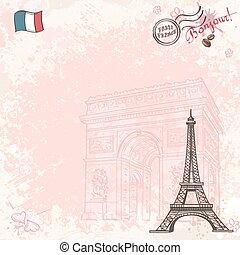 wizerunek, eiffel wieża, tło, francja