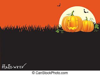 wizerunek, elementy, halloween, card.vector, dynie