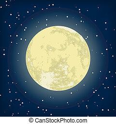 wizerunek, eps, księżyc, wektor, 8, night.