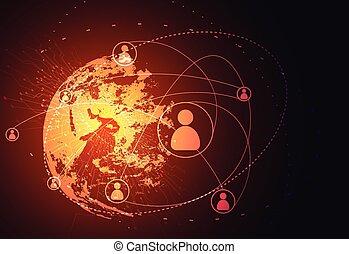 wizerunek, handlowy tech, świat, dostarczony, tło., ...