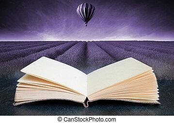 wizerunek, lato, balloon, zachód słońca pole, krajobraz, książka, gorący, nastrojony, złożony, powietrze, otwarty, konceptualny, lawenda