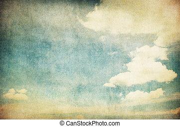 wizerunek, niebo, retro, pochmurny