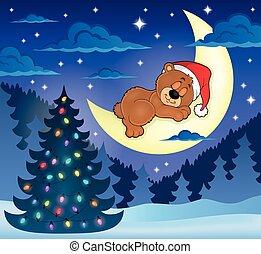 wizerunek, niedźwiedź, spanie, 1, temat, boże narodzenie