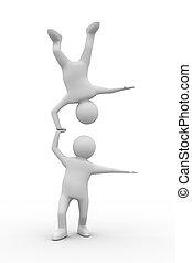 wizerunek, odizolowany, tło., biały, człowiek, handstand, 3d