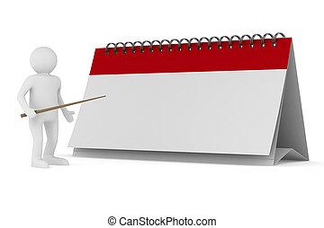 wizerunek, odizolowany, tło., biały, kalendarz, 3d