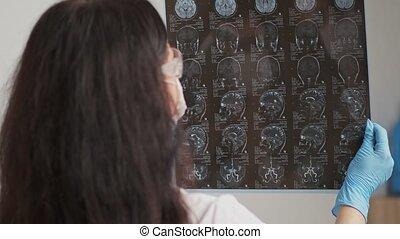 wizerunek, pacjent, mri, doktor, samica, egzaminując
