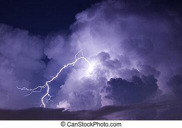 wizerunek, piorun, telefoto, burza, noc, strajk, podczas