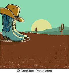 wizerunek, pustynia, ilustracja, krajobraz, western