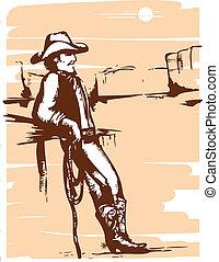 wizerunek, rancho, lasso., wektor, graficzny, kowboj