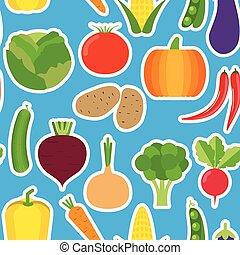wizerunek, roślina, seamless, warzywa, pattern.