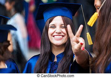 wizerunek, szczęśliwy, absolwent, młody