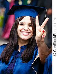 wizerunek, szczęśliwy, młody, absolwent