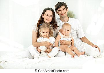 wizerunek, szczęśliwy, młody, tło, family.