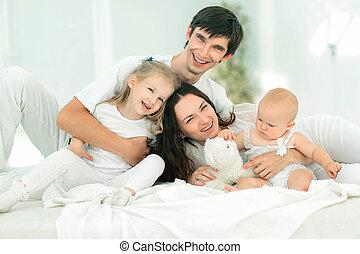 wizerunek, szczęśliwy, tło, młoda rodzina