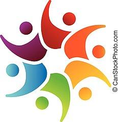 wizerunek, teamwork, 6, logo, koło, szczęśliwy