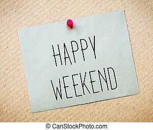 wizerunek, weekend, papier listowy, szczęśliwy, przypięty, ...