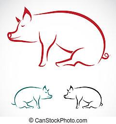 wizerunek, wektor, świnia