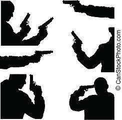 wizerunek, wektor, broń, człowiek