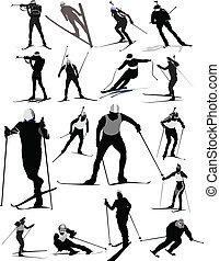 wizerunek, wektor, ilustracja, narciarz