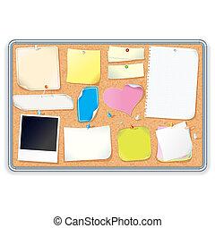 wizerunek, wektor, notatnik., deska, korek