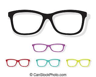 wizerunek, wektor, okulary
