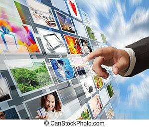 wizerunki, płynący, ręka, osiąganie