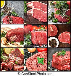 wizerunki, surowy, zbiór, wołowina