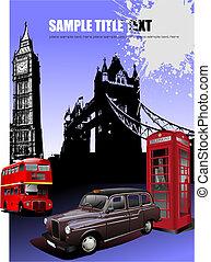 wizerunki, tło., wektor, londyn, ilustracja