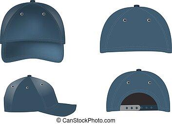 wizje lokalne, -, wstecz, czapki, realistyczny, wektor, baseball, przód, bok