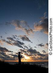 Wlaking at Sunset
