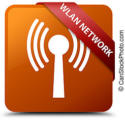 Wlan network brown square button red ribbon in corner