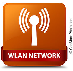 Wlan network brown square button red ribbon in middle