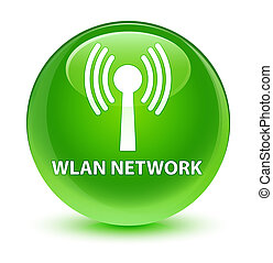 Wlan network glassy green round button