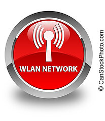 Wlan network glossy red round button