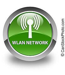 Wlan network glossy soft green round button