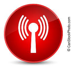Wlan network icon elegant red round button