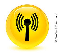 Wlan network icon glassy yellow round button