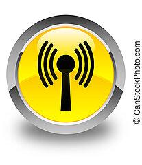 Wlan network icon glossy yellow round button