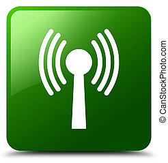 Wlan network icon green square button