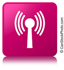 Wlan network icon pink square button
