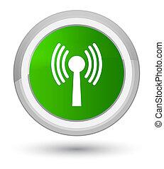 Wlan network icon prime green round button