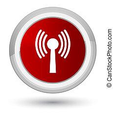 Wlan network icon prime red round button