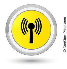Wlan network icon prime yellow round button