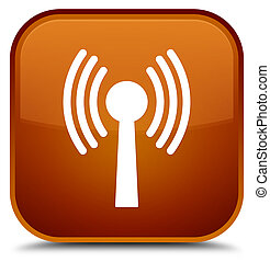 Wlan network icon special brown square button