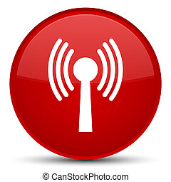 Wlan network icon special red round button