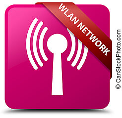 Wlan network pink square button red ribbon in corner
