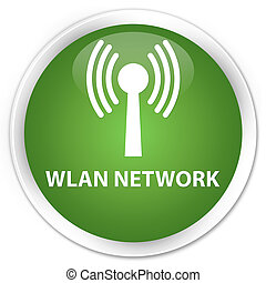 Wlan network premium soft green round button