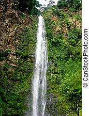 Water falling 1600 feet down Wli Waterfall near Hohoe in Ghana