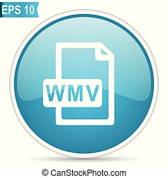 Wmv file blue glossy round vector icon in eps 10. Editable modern design internet button on white background.