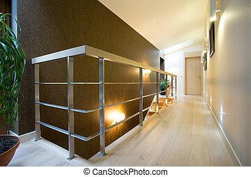 wnętrze, izba, nowoczesny, hala